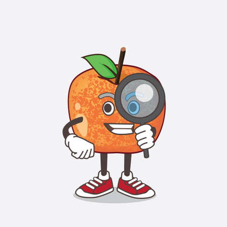 An illustration of Pluots Fruit cartoon mascot character as Detective design