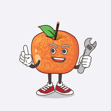 An illustration of Pluots Fruit cartoon mascot character as happy mechanic