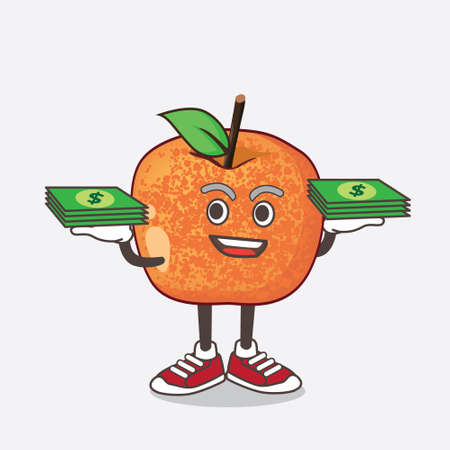 An illustration of Pluots Fruit cartoon mascot character with money on hands 矢量图像