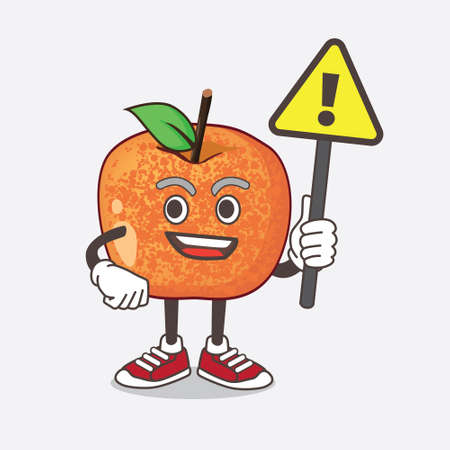 An illustration of Pluots Fruit cartoon mascot character rise up a warning sign