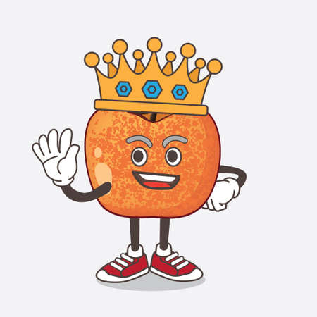 An illustration of Pluots Fruit cartoon mascot character stylized of King on cartoon mascot design 矢量图像