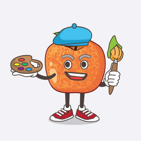 An illustration of Pluots Fruit cartoon mascot character painter style with art brush