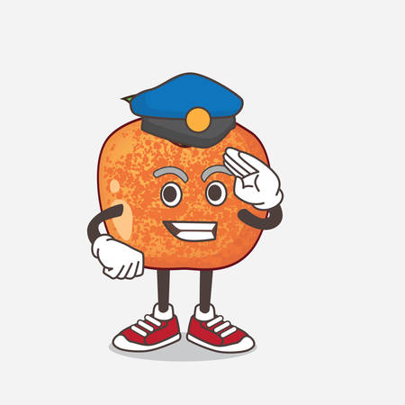 An illustration of Pluots Fruit cartoon mascot character working as a Police officer