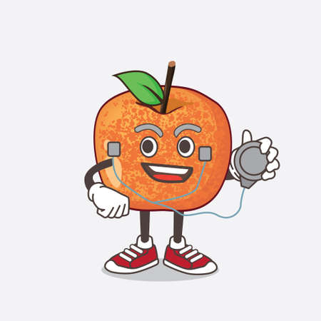 An illustration of Pluots Fruit cartoon mascot character as a Doctor working with stethoscope 矢量图像