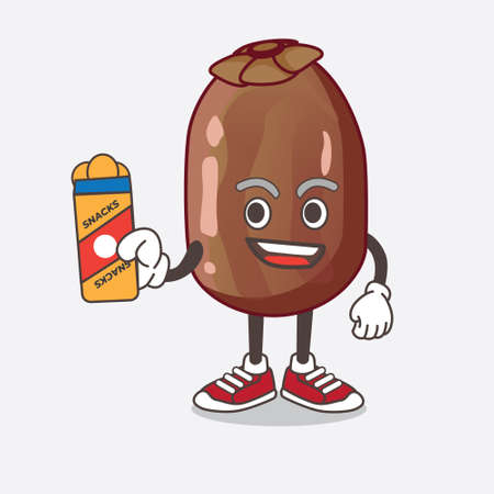 An illustration of Date Fruit cartoon mascot character giving snacks