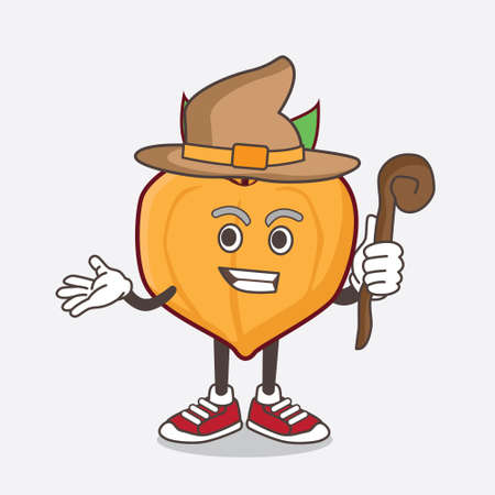 An illustration of Eggfruit cartoon mascot character as a witch wearing hat and staff Иллюстрация