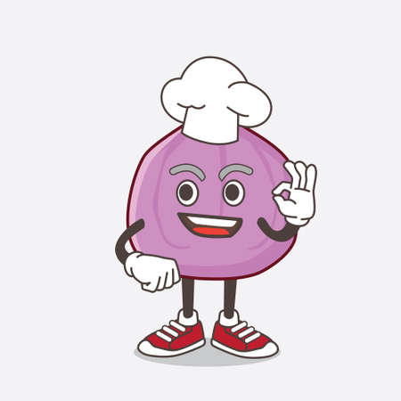 An illustration of Fig Fruit cartoon mascot character in a chef dress and white hat