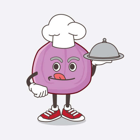 An illustration of Fig Fruit cartoon mascot character as a Chef with food on tray ready to serve