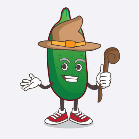 An illustration of Finger Lime cartoon mascot character as a witch wearing hat and staff
