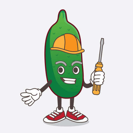 An illustration of Finger Lime cartoon mascot character as smart technician