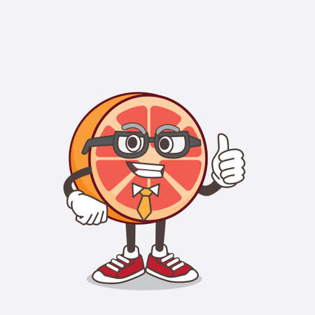 An illustration of Grapefruit cartoon businessman mascot character wearing tie and glasses