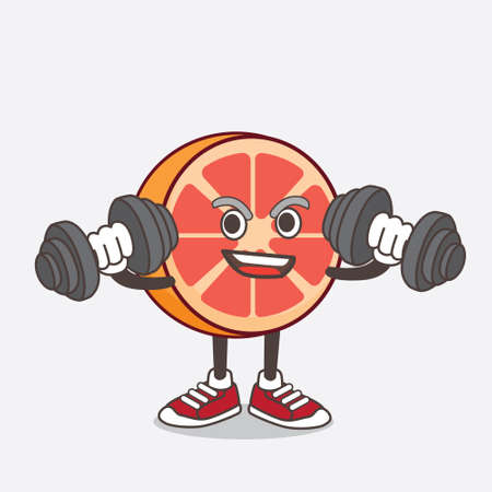 An illustration of Grapefruit cartoon mascot character on fitness exercise trying barbells