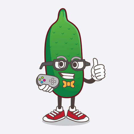 An illustration of Finger Lime cartoon mascot character as attractive gamer