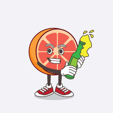 An illustration of Grapefruit cartoon mascot character holding a bottle of beer Vector Illustratie