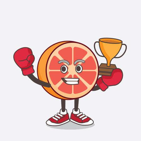 An illustration of Grapefruit cartoon mascot character as Boxing winner of arcade game machine