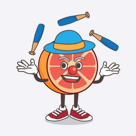 An illustration of Grapefruit cartoon mascot character play Juggling