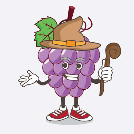 An illustration of Grape Fruit cartoon mascot character as a witch wearing hat and staff
