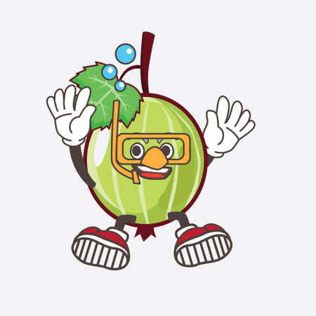 An illustration of Gooseberry Fruit cartoon mascot character wearing Diving gears