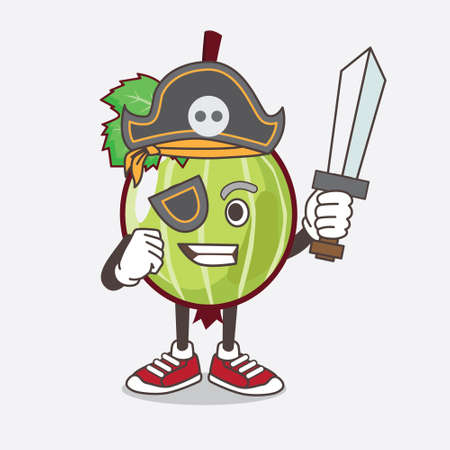 An illustration of Gooseberry Fruit cartoon mascot character in pirate style and wearing hat and sword