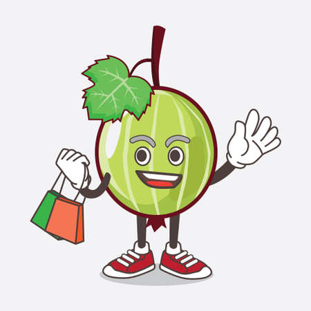 An illustration of Gooseberry Fruit cartoon mascot character waving and holding Shopping bags