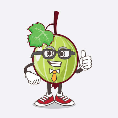 An illustration of Gooseberry Fruit cartoon businessman mascot character wearing tie and glasses