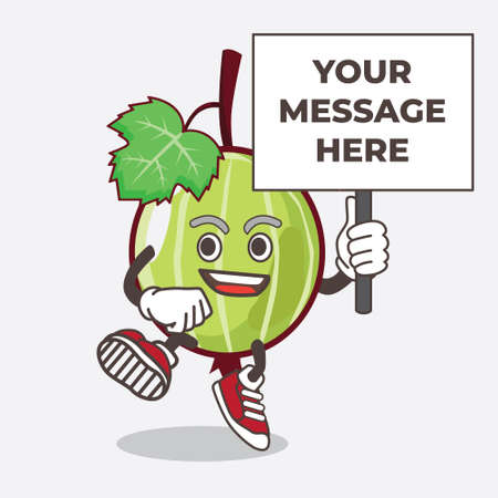 An illustration of Gooseberry Fruit cartoon mascot character with board sign message 向量圖像