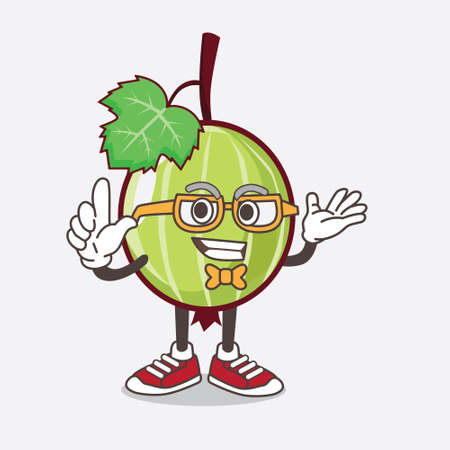 An illustration of Gooseberry Fruit cartoon mascot character in geek style