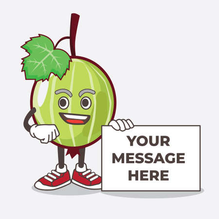 An illustration of Gooseberry Fruit cartoon mascot character holding a board sign message