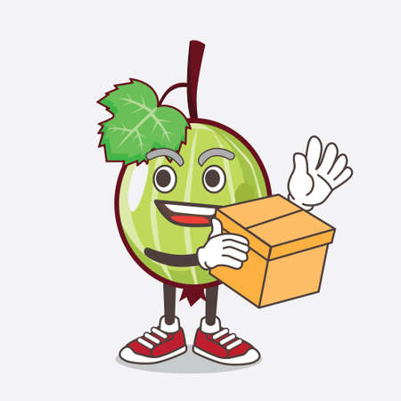 An illustration of Gooseberry Fruit cartoon mascot character holding a box