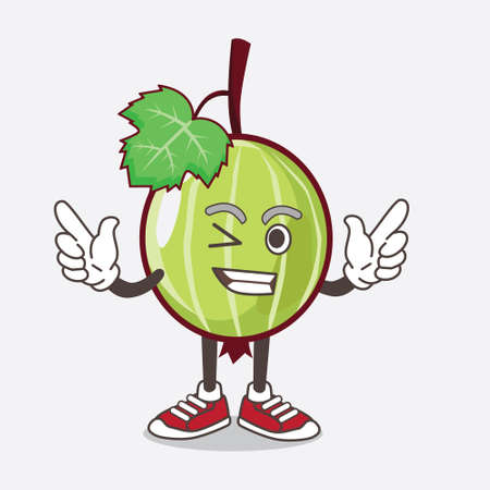 An illustration of Gooseberry Fruit cartoon mascot character with Winking eye