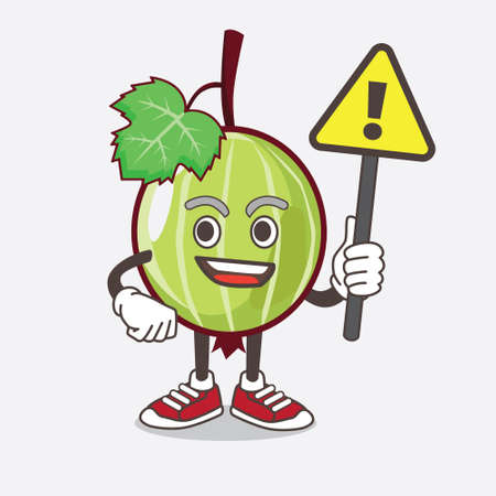 An illustration of Gooseberry Fruit cartoon mascot character rise up a warning sign