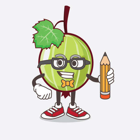 An illustration of Gooseberry Fruit cartoon mascot character holding pencil