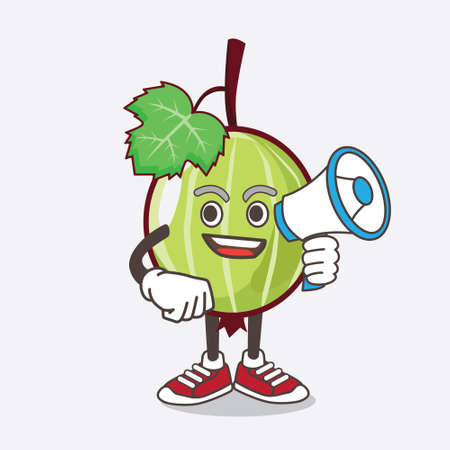 An illustration of Gooseberry Fruit cartoon mascot character holding a megaphone