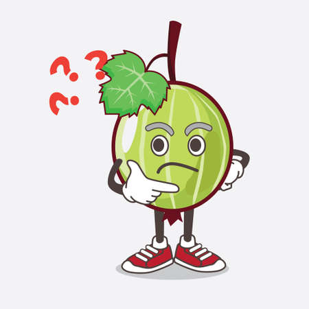 An illustration of Gooseberry Fruit cartoon mascot character in a confused gesture
