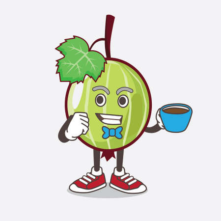 An illustration of Gooseberry Fruit cartoon mascot character with a cup of coffee