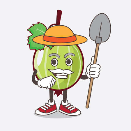 An illustration of Gooseberry Fruit cartoon mascot character with hat and farmer tools