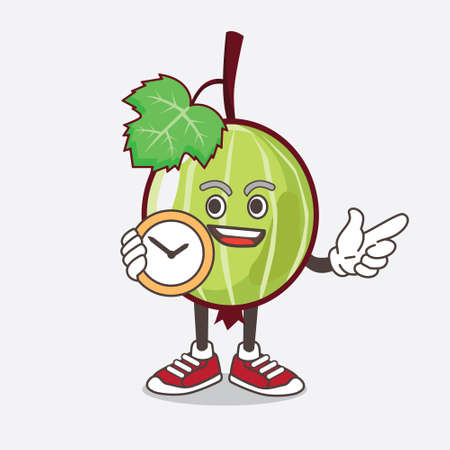An illustration of Gooseberry Fruit cartoon mascot character holding a clock