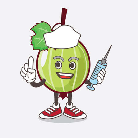 An illustration of Gooseberry Fruit cartoon mascot character as nurse with medical syringe