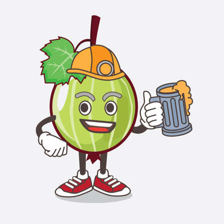 An illustration of Gooseberry Fruit cartoon mascot character holding a glass of beer