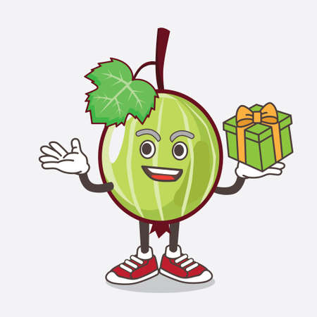 An illustration of Gooseberry Fruit cartoon mascot character with a box of gift