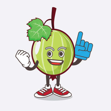 An illustration of Gooseberry Fruit cartoon mascot character holding a Foam finger
