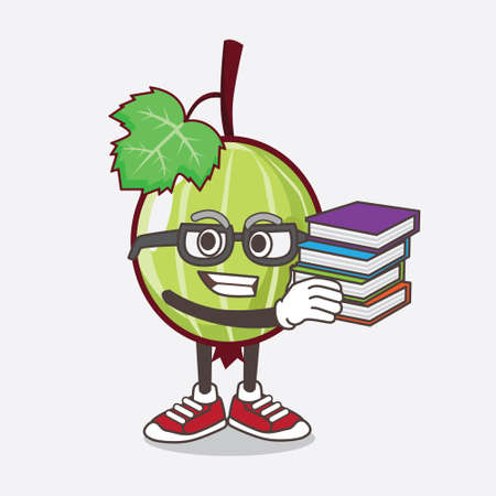 An illustration of Gooseberry Fruit cartoon mascot character studying with some books