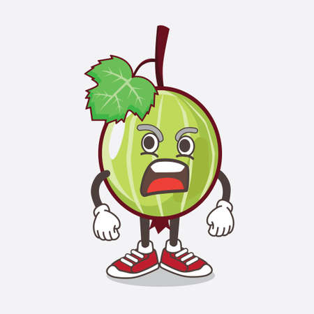An illustration of Gooseberry Fruit cartoon mascot character with angry face