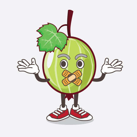 An illustration of Gooseberry Fruit cartoon mascot character making a silent gesture