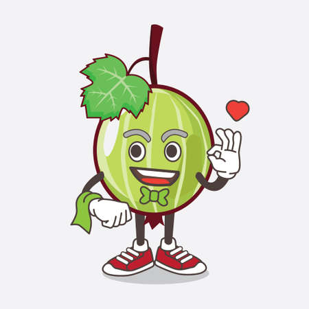 An illustration of Gooseberry Fruit cartoon mascot character working as a Waiter