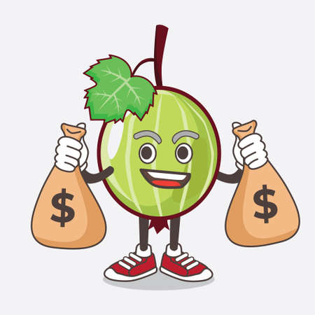 An illustration of Gooseberry Fruit cartoon mascot character holding money bags