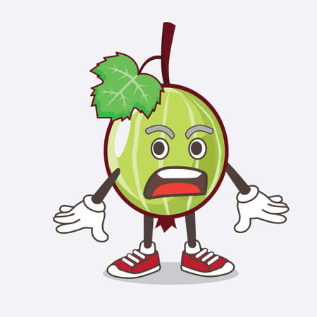 An illustration of Gooseberry Fruit cartoon mascot character with a surprised gesture