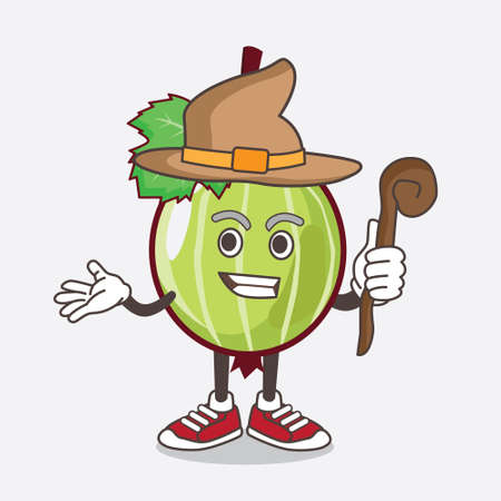 An illustration of Gooseberry Fruit cartoon mascot character as a witch wearing hat and staff