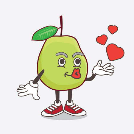 An illustration of Guava Fruit cartoon mascot character teasing with heart kiss