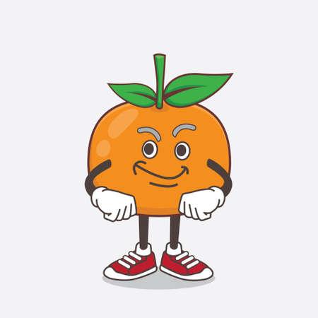 An illustration of Mandarin Fruit cartoon mascot character with smirking face Vector Illustratie